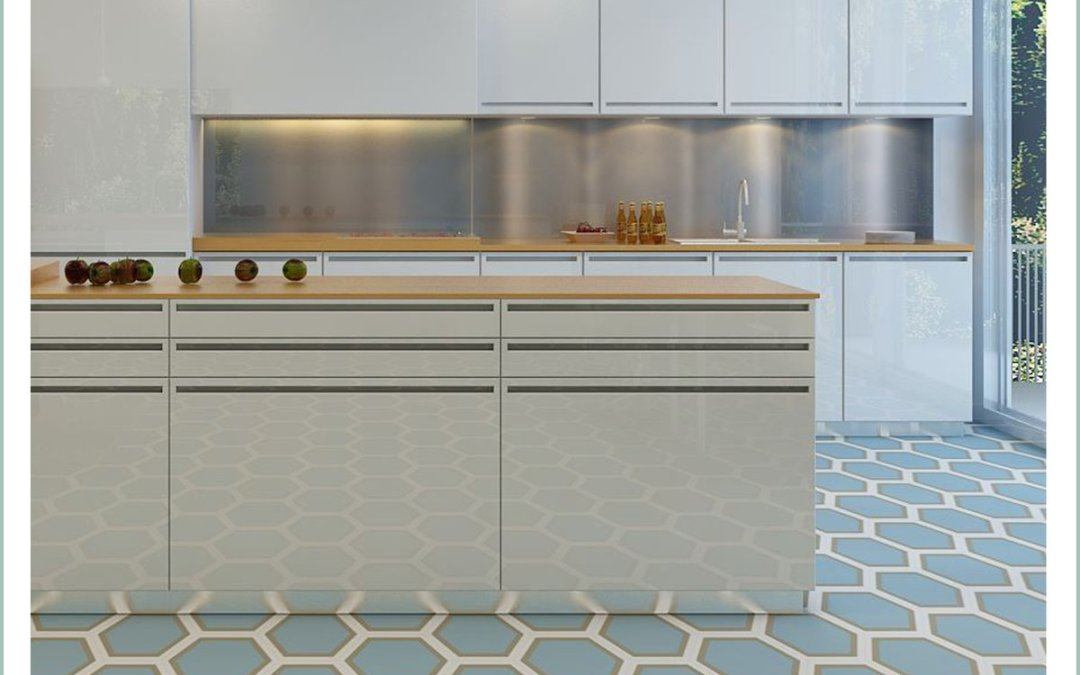 Trendy Kitchens designs with Hexagonal Tiles