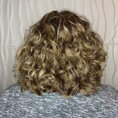 Fine curly hair cut after pic.