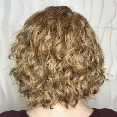 Fine curly haircut after pic.