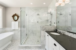 Bath Remodel with Oversized Shower for 2, Pedestal Tub and Double Vanity, finished with Marble Mosaic Tile Floor and Marble Wall Tile