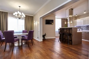 Whole House Remodel with Dining Room open to the Kitchen with Large Trimmed Doorway and Hardwood Floors