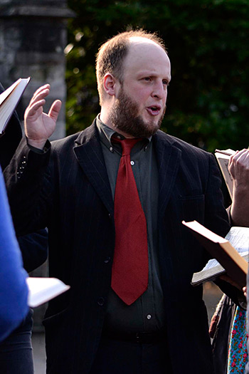 Aldo Ceresa, of Brooklyn, United States, sings in the sunshine after the performance at All Souls Church. Photograph by Ewan Paterson, 2011.