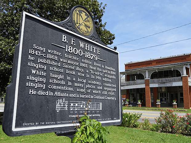 The B.F. White Historical Marker in Hamilton Georgia. Photograph by Rivers Langley, 2011.