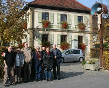 Sacred Harp singers Aldo, Ian, Jacqui, Cath, Judy, Helen, Ted, Dave, and Michael in the German Countryside