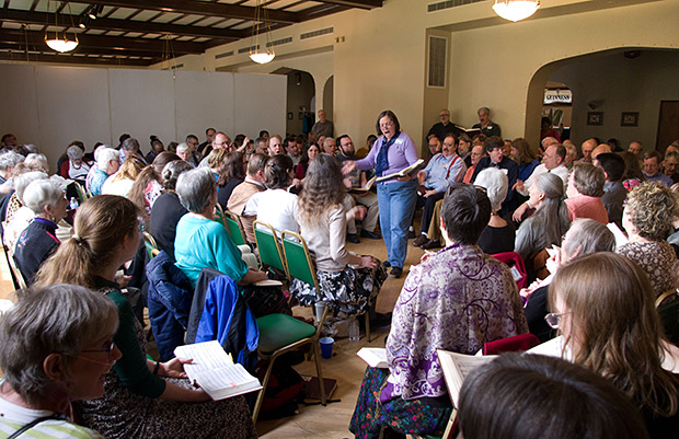 The Sunday class swelled to over 150 singers after lunch.