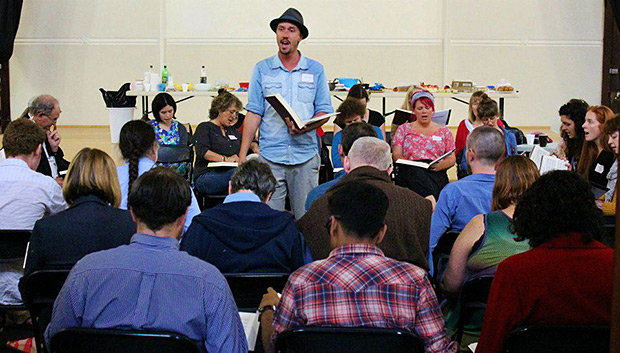 Sydney bluegrass musician James Daley leads a song at the first Australian All Day Singing. Photograph by Dianne Porter.