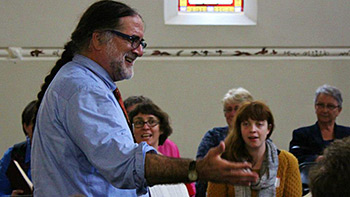 Steven Levine leads at the first Australia All Day Singing. Photograph by Dianne Porter.