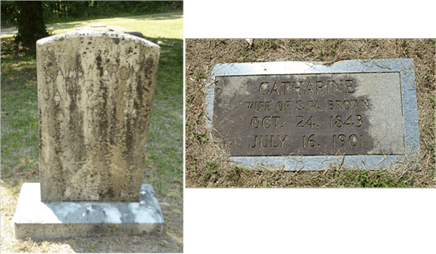 Memorials for Sam W. Brown (left) and Catherine, his wife (above). Although Sam fought in the Civil War there was no Confederate Stone for him.  His inscription reads: SAM W. BROWN / JAN 26 1843 / MAY 9 1925.