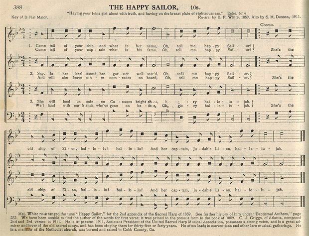 """The Happy Sailor"" (p. 388, Original Sacred Harp, 1911). C. J. Griggs authored the second and third verses of the song."