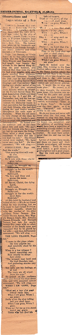 Observations and Impressions of a Son, from The Haleyville [Alabama] Advertiser-Journal, September, 1935.