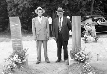 Howard (left) and Paine (right) Denson, between the graves of their parents Amanda Burdette Denson and Thomas Jackson Denson, at the Sacred Harp Centennial Celebration, September 18–24, 1944. Photograph courtesy of Michael Hinton.