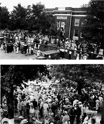 "Crowds gathered for the 1935 ""Big Singing"" at the Marshall County courthouse in Benton, Kentucky. Photographs from the collection of George Pullen Jackson."