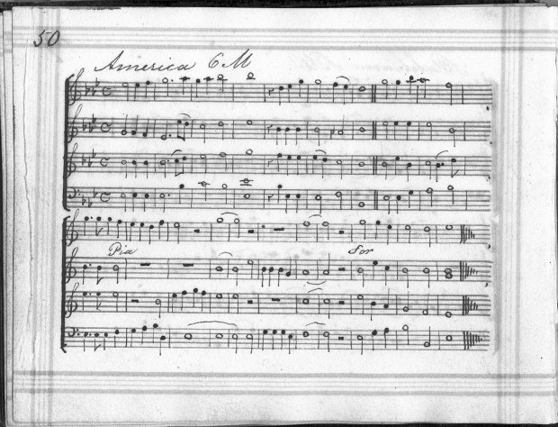"Read's ""America,"" from the tiny Manchester manuscript book, perhaps in the hand of Charles Rider, compiler of A Selection of Hymn Tunes for the use of the Sunday School in Elm Street, Manchester, ca. 1820s."