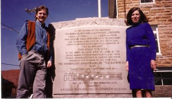 Warren Steel and Amanda Denson at the monument to the Densons at the Winston County Courthouse in Double Springs, Alabama in 1994.