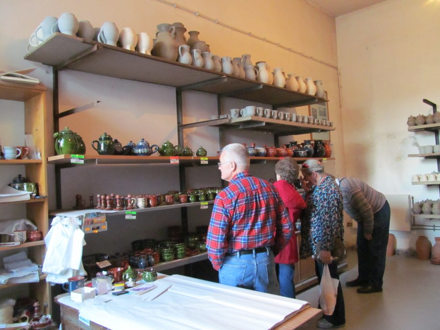 Singers visit the pottery factory in Chmielno. Photograph by Linda Thomas.