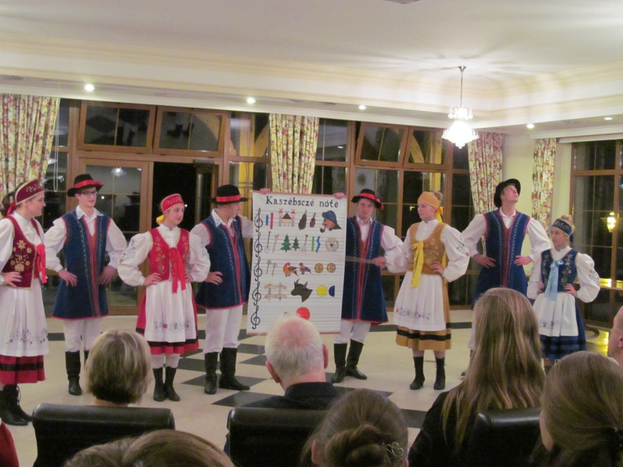 "Kashubian folk dancers displaying the ""Kashubian alphabet."" Photograph by Linda Thomas."