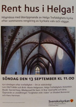 poster advertising Sacred Harp singing at church in Uppsala, Sweden