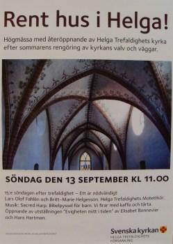 poster advertising Sacred Harp singing at church in Uppsala, Sweden