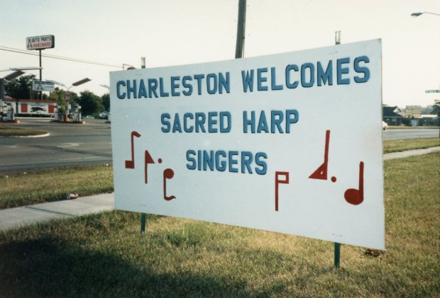 Sign welcoming singers to the second Illinois State Sacred Harp Convention, September 1986.