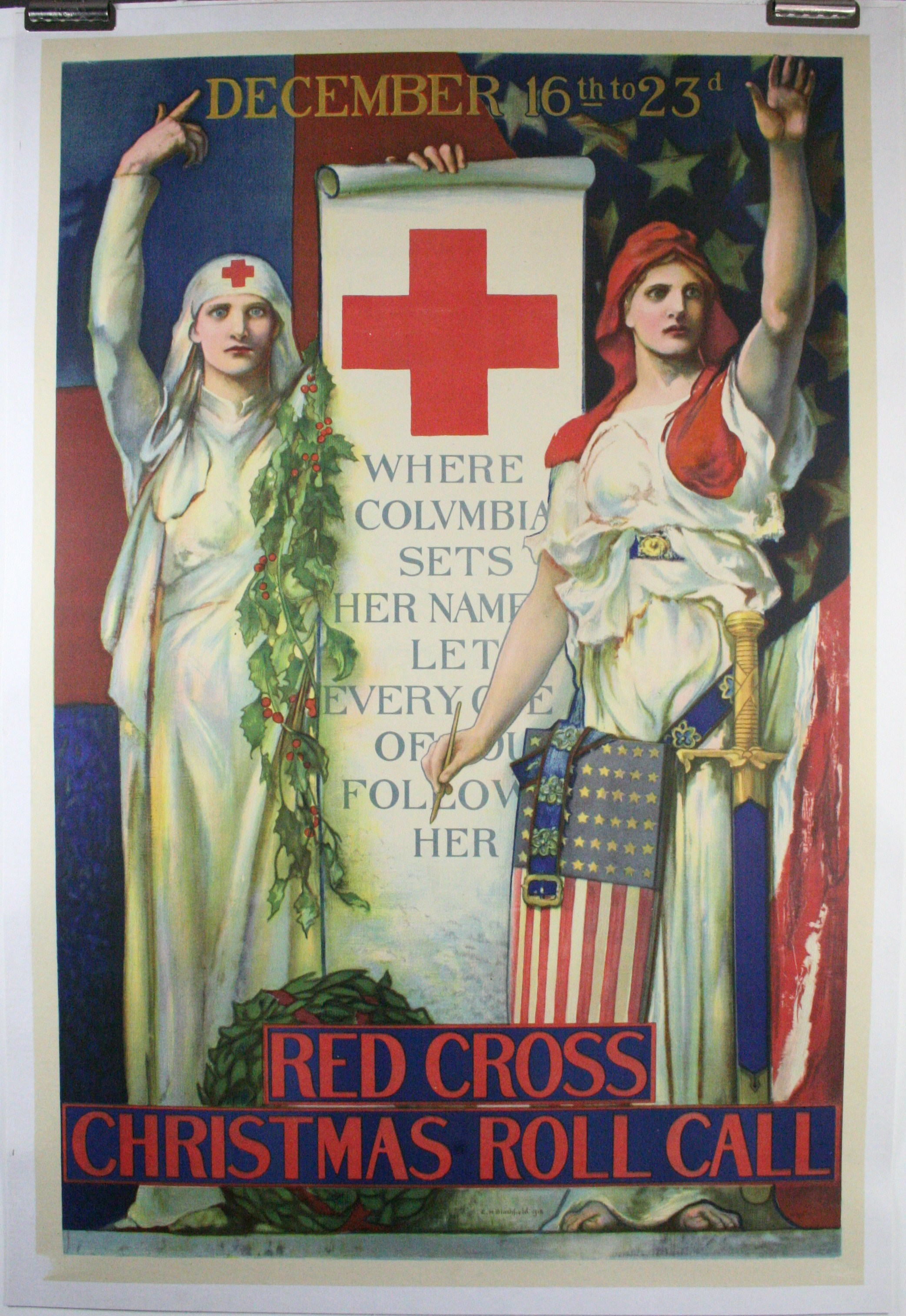 RED CROSS CHRISTMAS ROLL CALL Original World War 1 Poster
