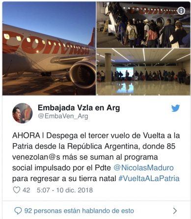* 85 Venezuelans return from Argentina on Monday with the Plan Vuelta a la Patria