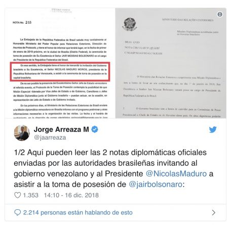 * Venezuela Rejects Invitation to Bolsonaro's Inauguration