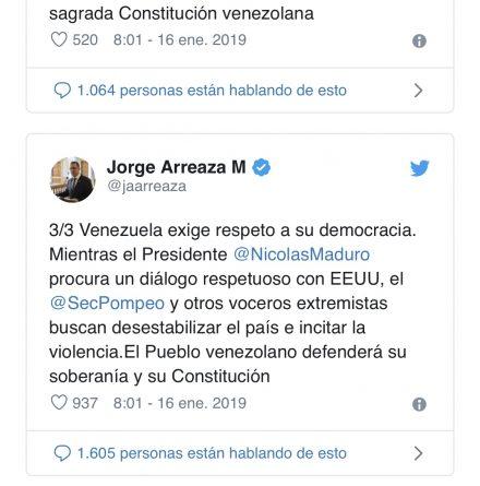 Arreaza to Pompeo: Venezuela Demands Respect for its Democracy