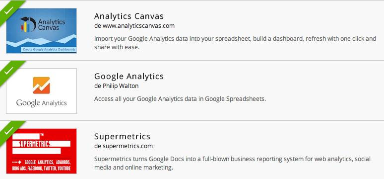 Add-ons de Google Analytics para Google Spreadsheets