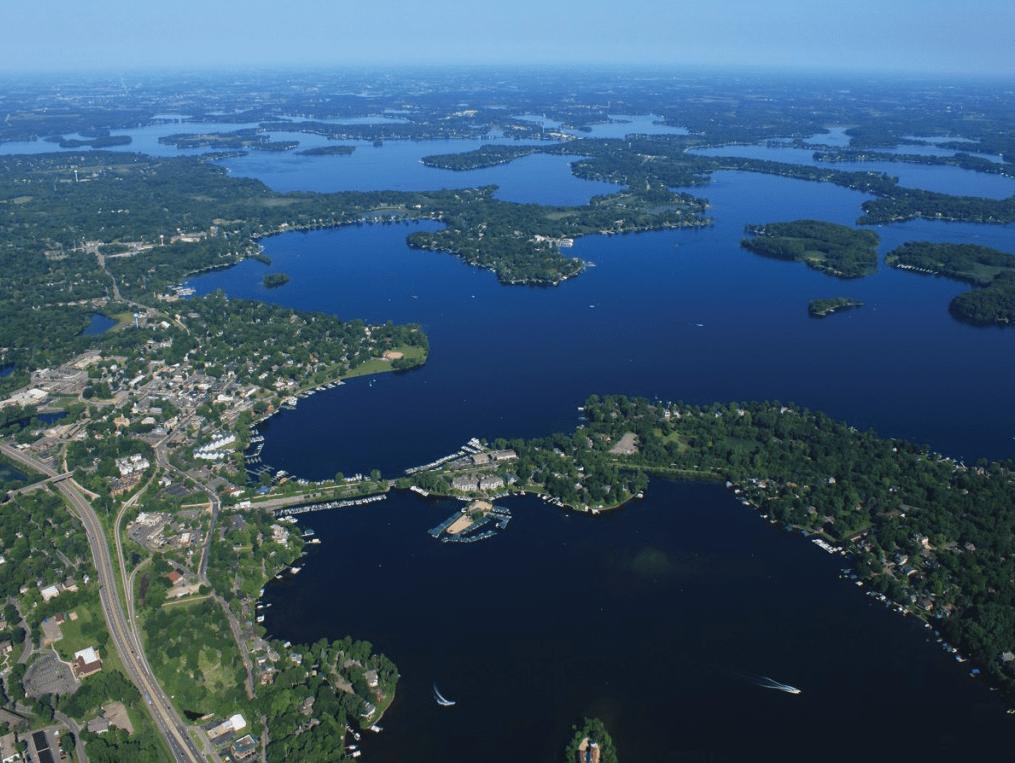 Photo of arial view of lake minnetonka area