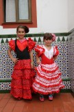 The girls dressed up in traditional Flamenco dresses
