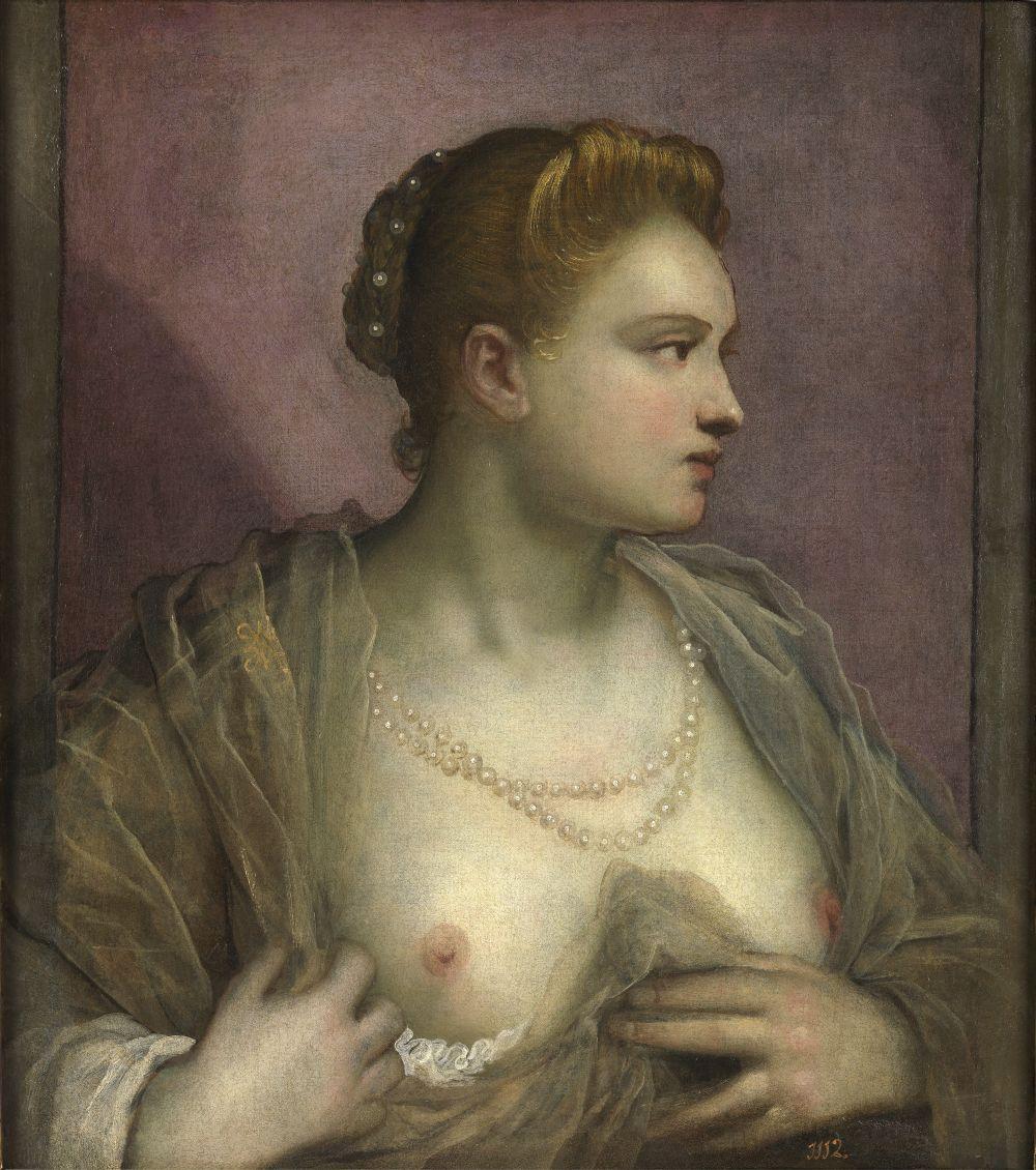 Domenico Tintoretto, Ritratto di donna che mostra il petto, nono decennio del XVI secolo