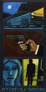 Sergio Ceccotti, Avventura & mistero, 1966. Olio su tela, 70 x 35 cm. Foto di Riccardo Ragazzi