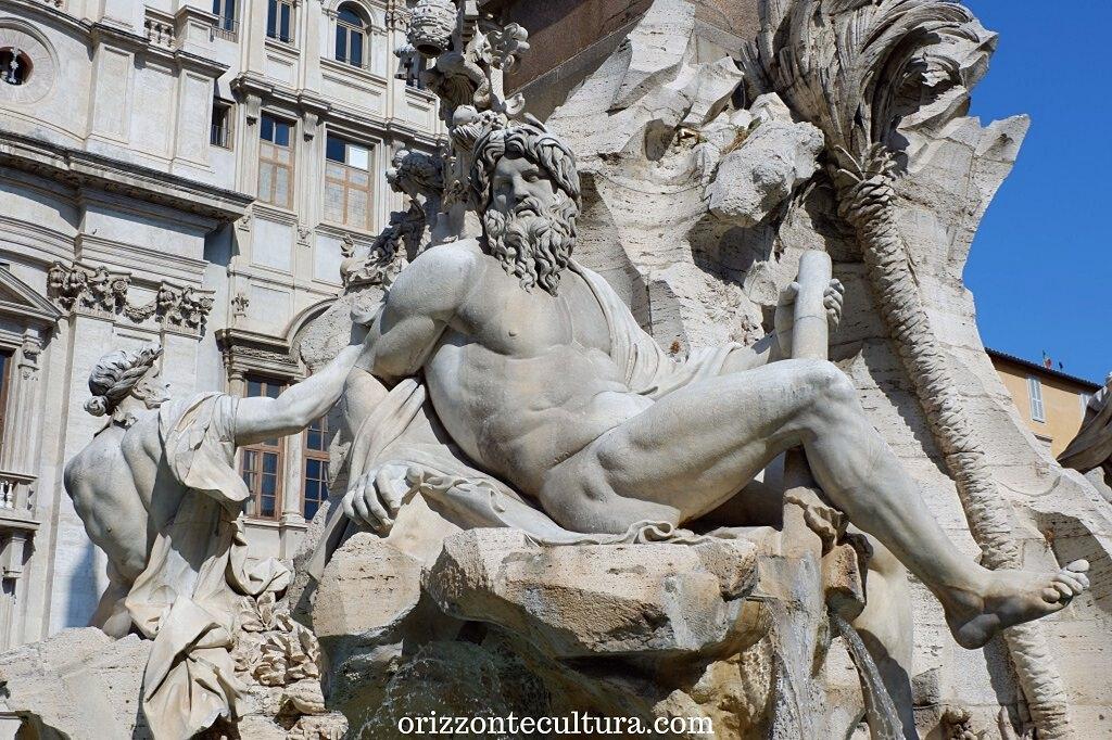 Dettaglio Fontana dei Quattro Fiumi in Piazza Navona, Bernini a Roma
