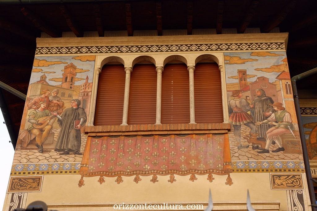 Dettaglio decorazione Dante e Petrarca, Villino delle Fate a Coppedè