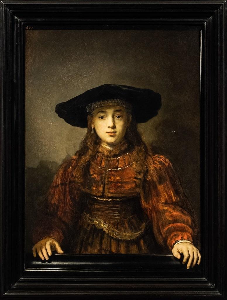 Rembrandt Van Rijn Ragazza in una cornice, l'ora dello spettatore Barberini