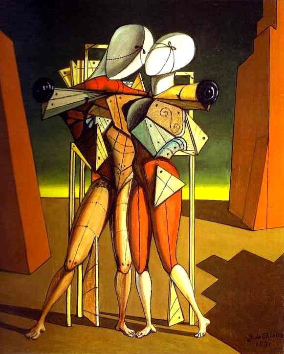 Giorgio De Chirico, Ettore e Andromaca Baci e amore nell'arte