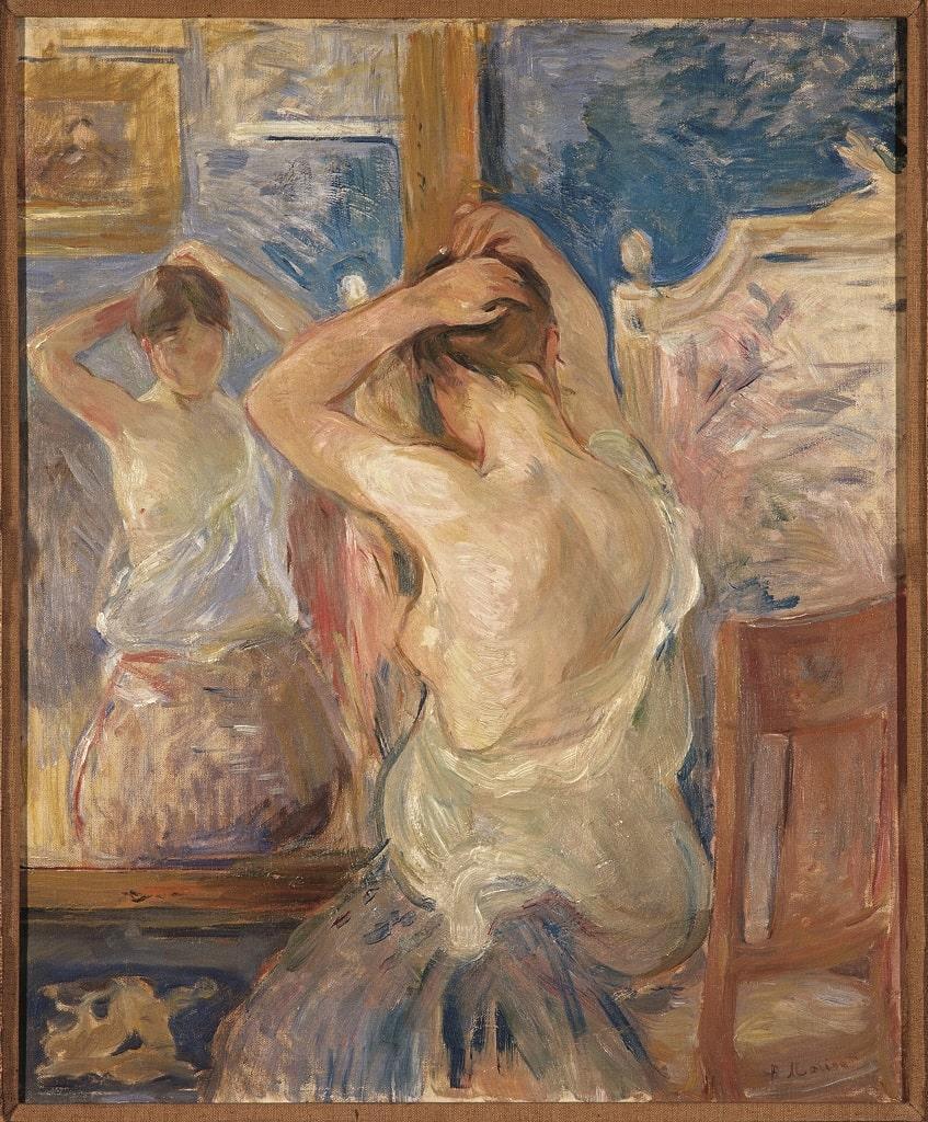 Berthe Morisot Devant la psyché, donna arte Berthe Morisot