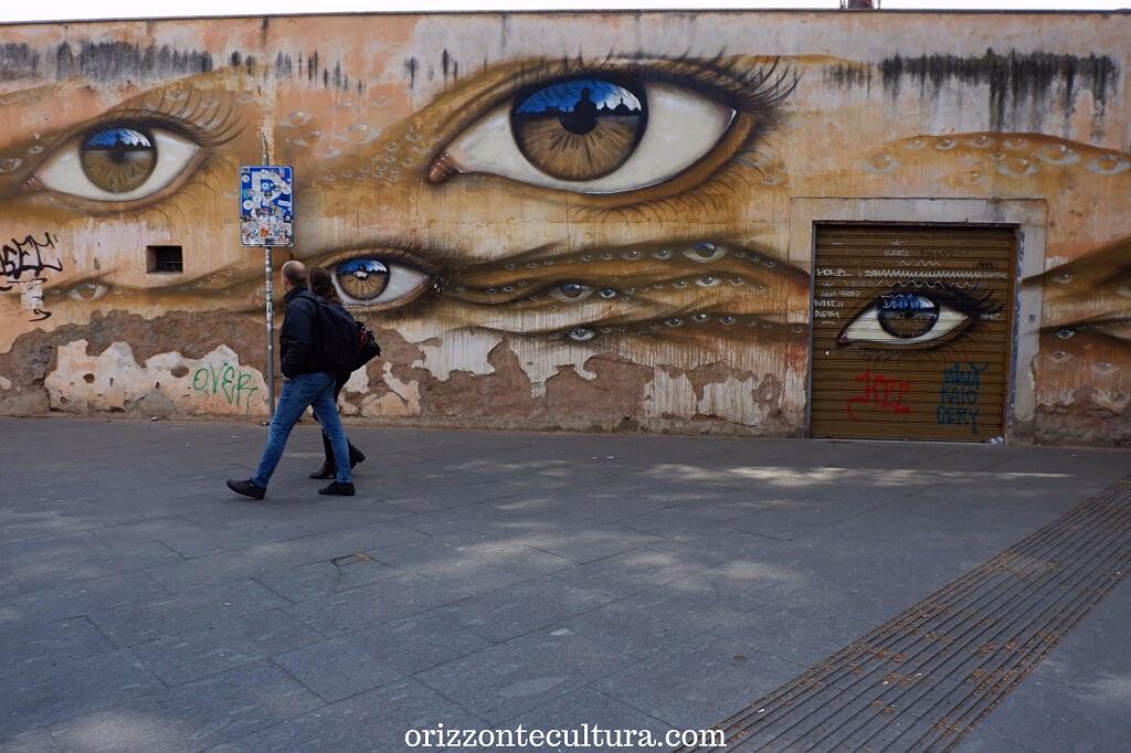 Il murales di My Dog Sighs sul muro del Nuovo Regina Margherita