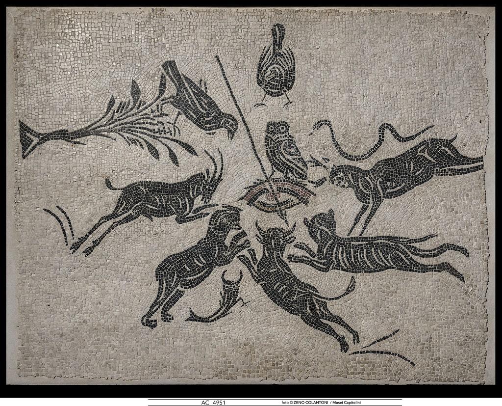 Mosaico bianco nero con scena di malocchio, mosaici dalle Collezioni Capitoline