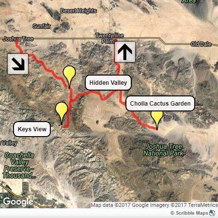 Visitare il Joshua Tree: la cartina