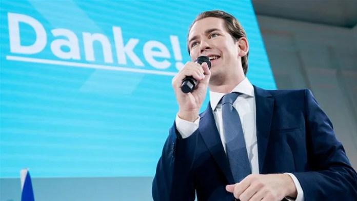 Sebastian Kurz nel discorso celebrativo della sua vittoria nelle elezioni 2019
