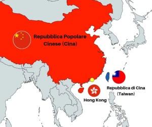 Mappa che mostra la Cina, Taiwan e Hong Kong