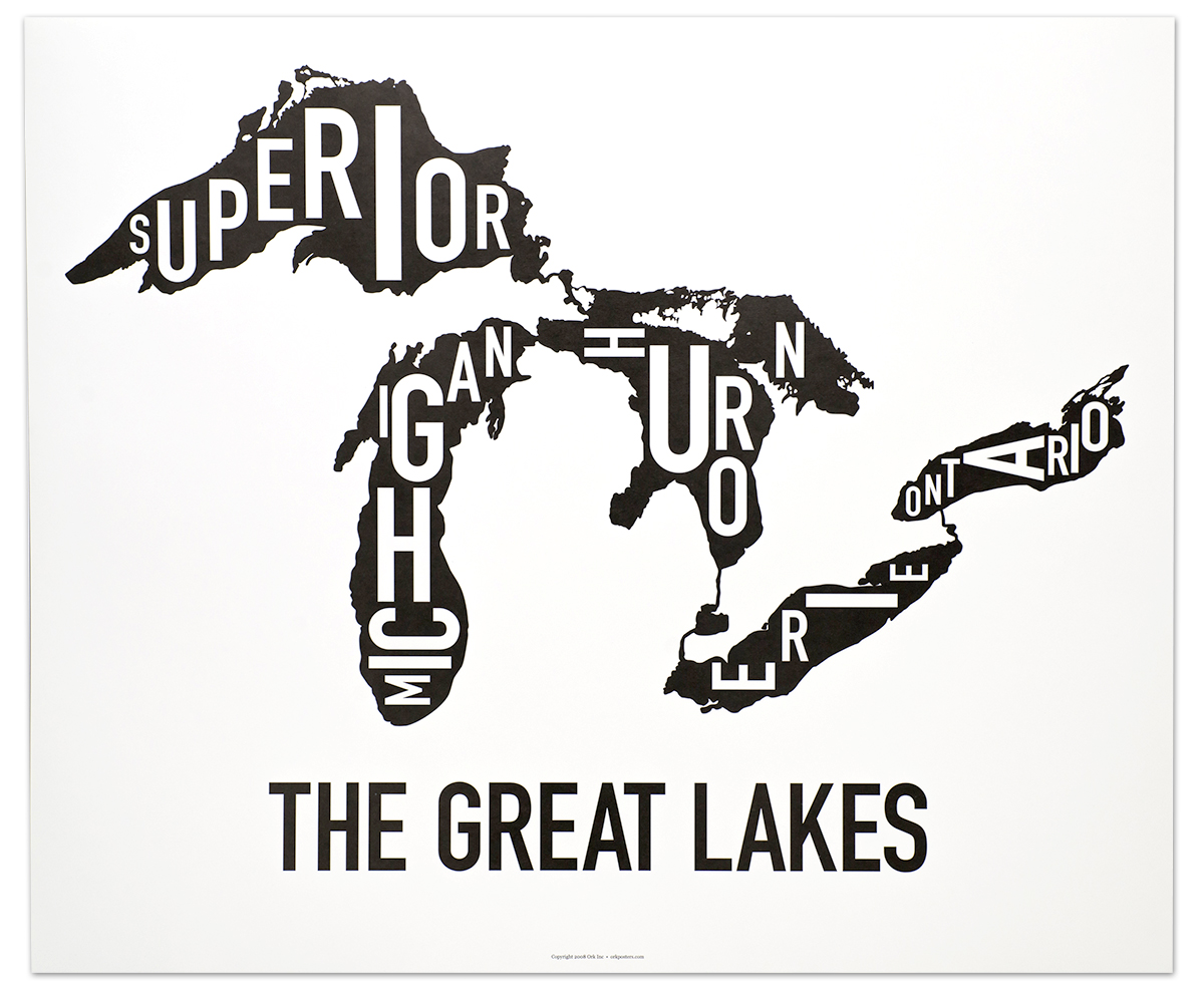 Great Lakes Map 24 X 20 Classic Black Amp White Poster