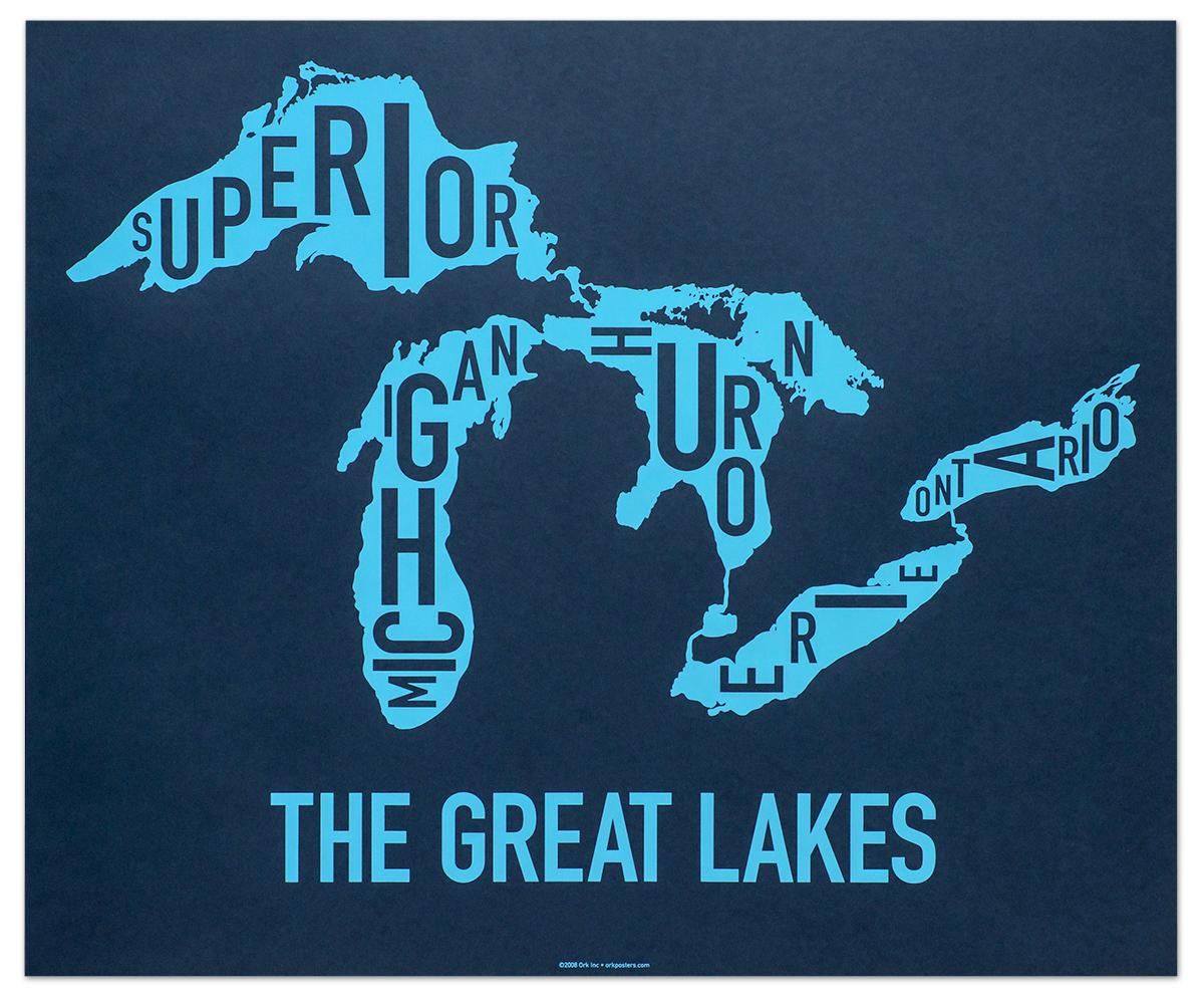 Great Lakes Map 24 X 20 Clear Blue Screenprint