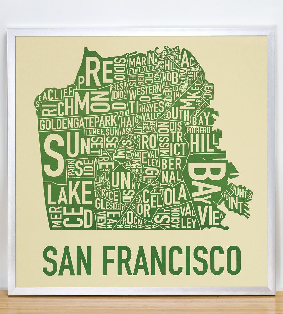 san francisco neighborhood map 18 x 18 easy being green poster