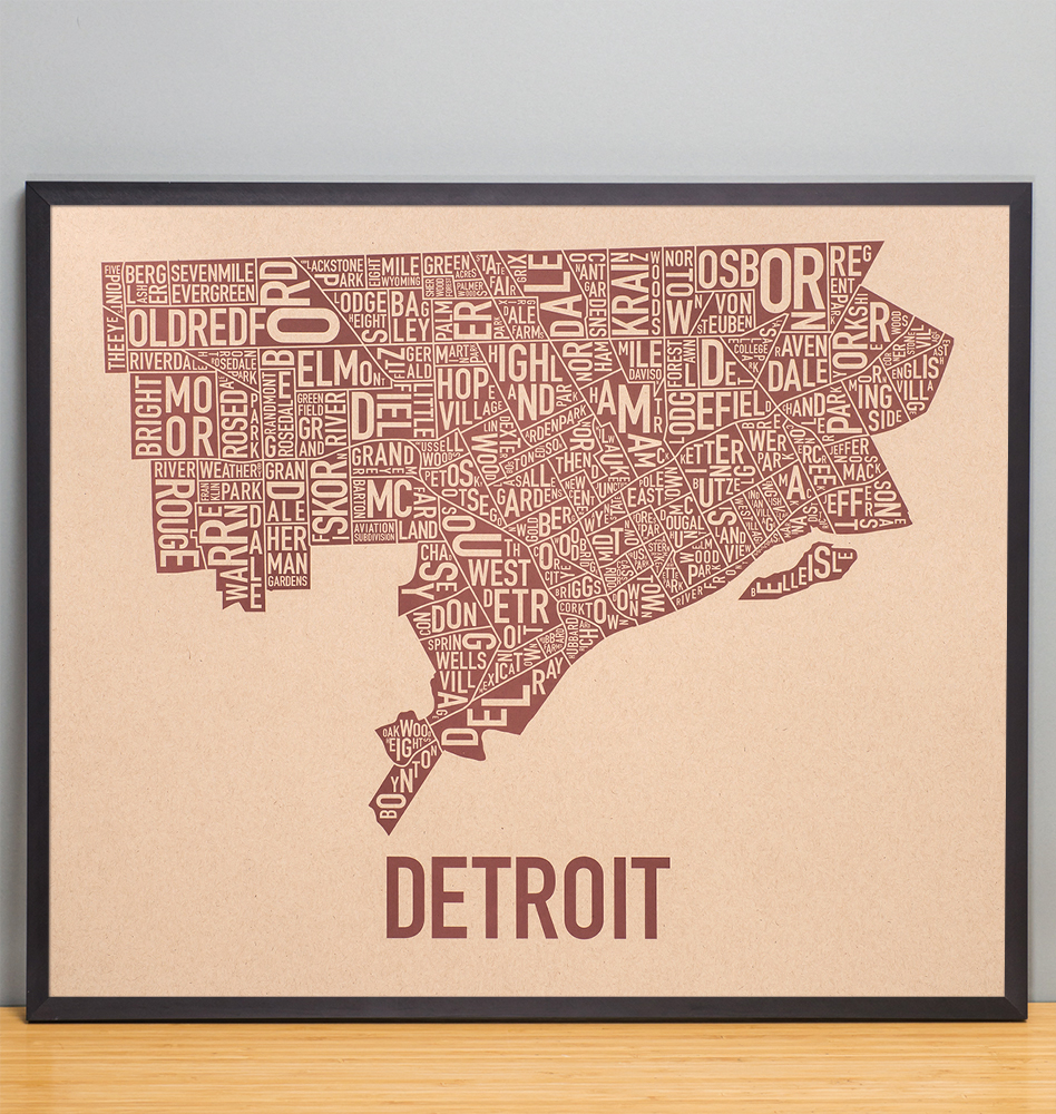 Detroit Neighborhood Map 24  x 20  Downtown Brown Poster Detroit Neighborhood Map 24