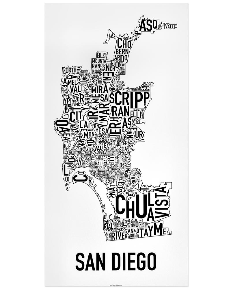 san diego neighborhood map 16 x 32 classic black white poster