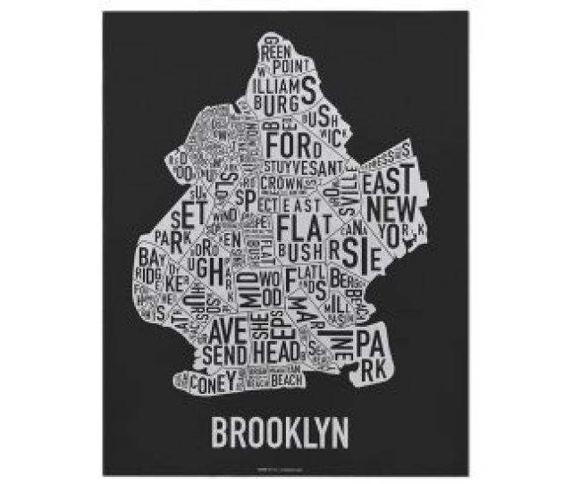 Brooklyn Neighborhood Map  E  B E  B Black White Screenprint