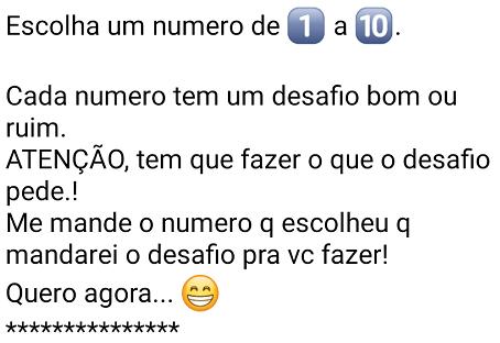 Brincadeira do WhatsApp Escolha um número de um a dez