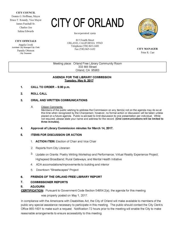 library commission agenda May 9, 2017